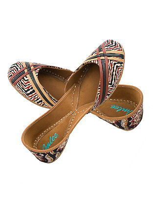Black-Red Kalamkari Printed Cotton and Leather Juttis