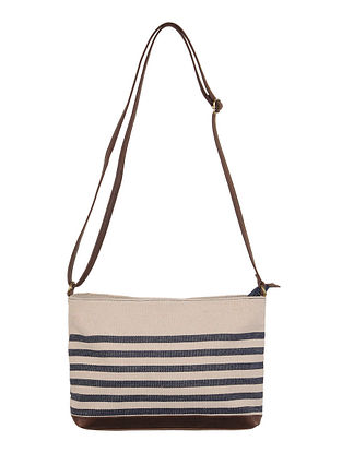 Ivory-Navy-Brown Canvas-Leather Stripes Sling Bag