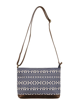 Navy-Ivory-Brown Canvas-Leather Aztec Motif Sling Bag