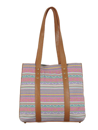 Multi-Color-Light Brown Canvas-Leather Tote Bag