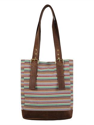 Multi-Color-Brown Canvas-Leather Stripes Tote Bag