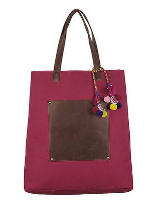 Dark Pink. Brown Canvas-Leather Tote Bag