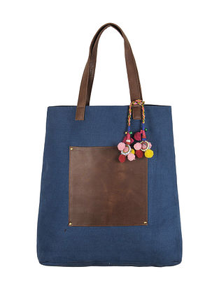 Blue-Brown Canvas-Leather Tote Bag