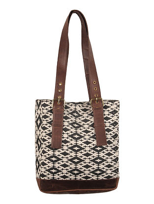 Black-White-Brown Canvas-Leather Tote Bag