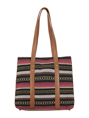 Black-White-Brown-Red Canvas-Leather Tote Bag