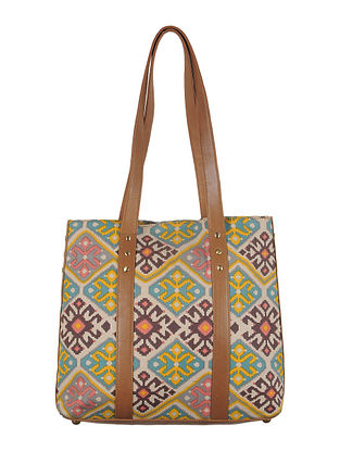 Brown-Teal-Multi-Color Canvas-Leather Tote Bag