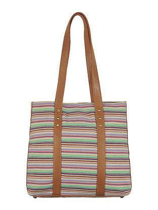 Multi-Color-Light Brown Canvas-Leather Stripes Tote Bag