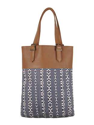 Navy-Ivory-Brown Canvas-Leather Aztec Motif Tote Bag