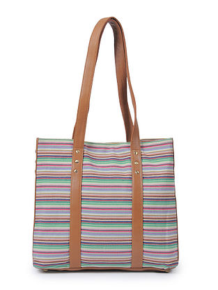 Multicolored Canvas and Leather Tote