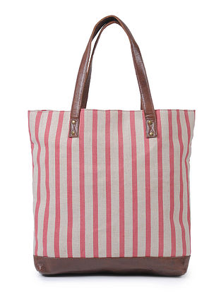 Pink-Beige Canvas and Leather Tote