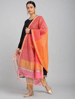 Pink-Orange Chanderi Dupatta with Zari