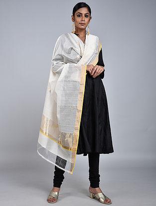Ivory Chanderi Silk Dupatta With Zari