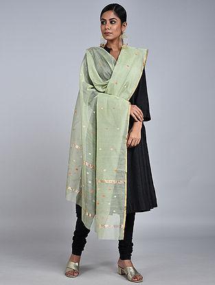 Green Chanderi Silk Dupatta With Zari