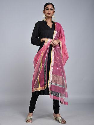 Pink Chanderi Silk Dupatta With Zari