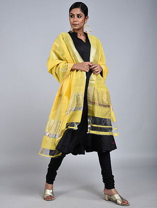 Yellow Chanderi Silk Dupatta With Zari