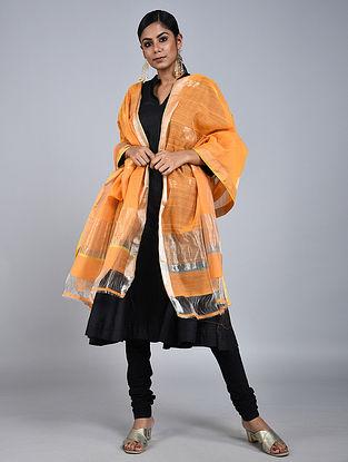 Orange Chanderi Silk Dupatta With Zari