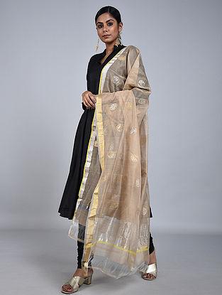 Beige Chanderi Silk Dupatta With Zari