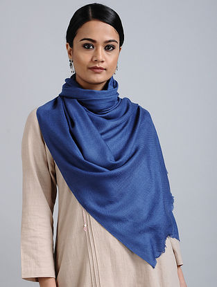 Blue Merino Wool Silk Stole