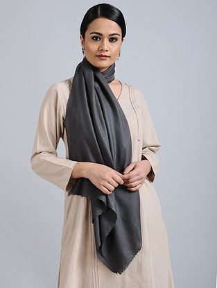 Black Merino Wool Silk Stole
