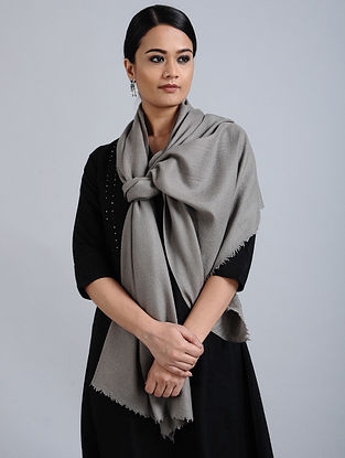 Grey Merino Wool Silk Stole