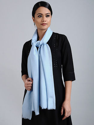 Blue Merino Wool Silk Stole