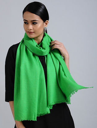 Green Merino Wool Silk Stole