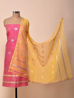 Pink-Yellow Chanderi Silk Kurta Fabric with Dupatta (Set of 2)