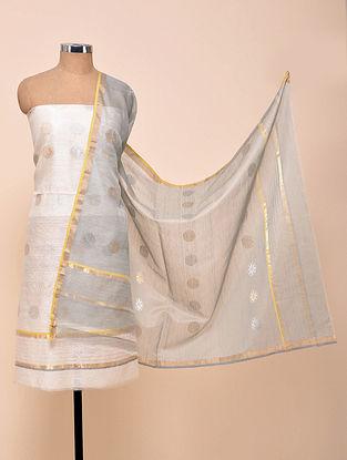 White-Grey Chanderi Silk Kurta Fabric with Dupatta (Set of 2)
