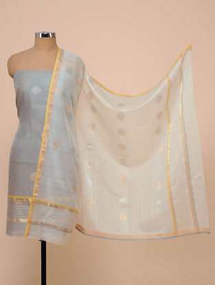 Grey-White Chanderi Silk Kurta Fabric with Dupatta (Set of 2)