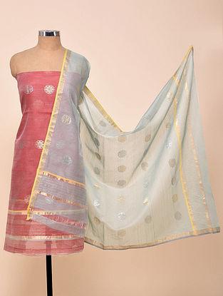 Red-Blue Chanderi Silk Kurta Fabric with Dupatta (Set of 2)