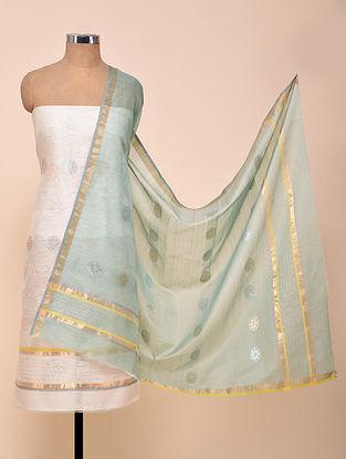 White-Blue Chanderi Silk Kurta Fabric with Dupatta (Set of 2)
