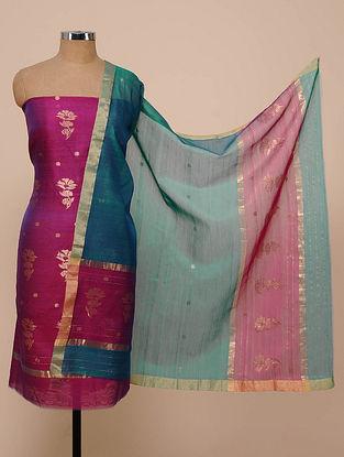 Purple-Blue Chanderi Silk Kurta Fabric with Dupatta (Set of 2)