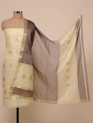 Ivory-Black Chanderi Silk Kurta Fabric with Dupatta (Set of 2)