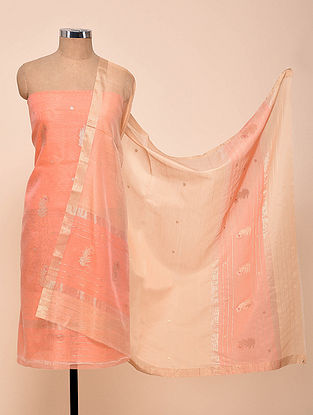 Pink Chanderi Silk Kurta Fabric with Dupatta (Set of 2)