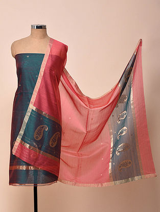 Teal Blue-Pink Chanderi Silk Kurta Fabric with Dupatta (Set of 2)