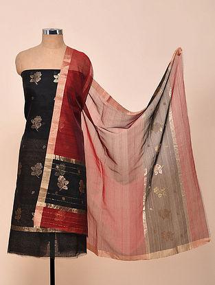 Black-Maroon Chanderi Silk Kurta Fabric with Dupatta (Set of 2)