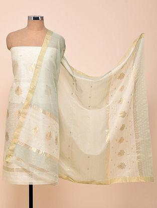 White Chanderi Silk Kurta Fabric with Dupatta (Set of 2)