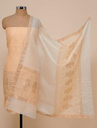 Peach-White Chanderi Silk Kurta Fabric with Dupatta (Set of 2)