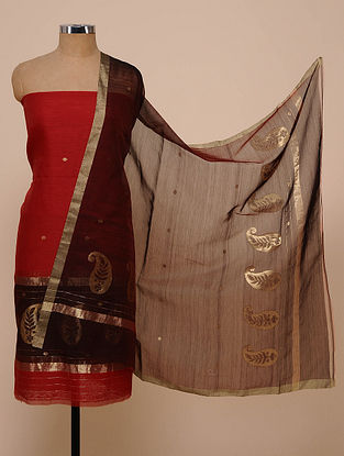Red-Wine Chanderi Silk Kurta Fabric with Dupatta (Set of 2)
