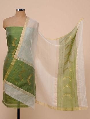 Green-White Chanderi Silk Kurta Fabric with Dupatta (Set of 2)