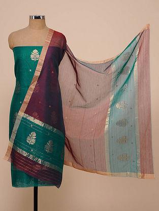 Teal Green-Wine Chanderi Silk Kurta Fabric with Dupatta (Set of 2)