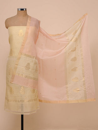 Beige-Pink Chanderi Silk Kurta Fabric with Dupatta (Set of 2)