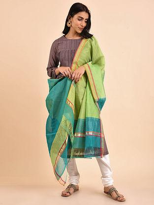 Green-Blue Handwoven Chanderi Dupatta