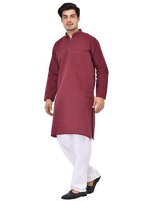 Maroon Full Sleeve Cotton Khadi Kurta