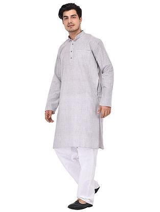 Grey Full Sleeve Cotton Khadi Kurta
