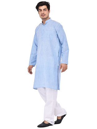 Blue Full Sleeve Cotton Khadi Kurta