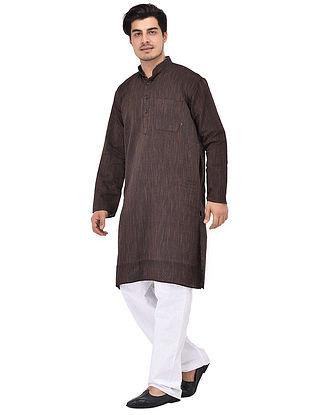 Black Full Sleeve Cotton Khadi Kurta