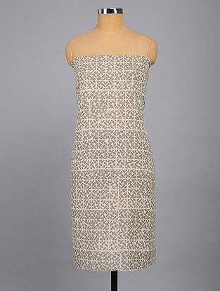 Ivory-Grey Printed Kurta Fabric