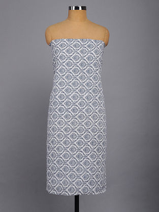 White-Blue Printed Kurta Fabric