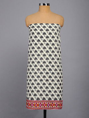 White-Black Printed Kurta Fabric